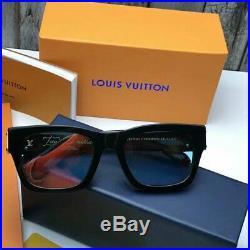 Authentic Louis Vuitton Sunglasses C98008WN LV Black Gold For Men Women