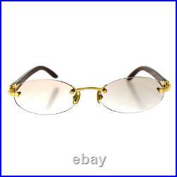 Authentic Must de Cartier Glasses Eye Wear Wood Metal Gold Brown France 600BP017