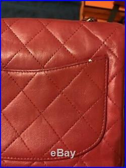 Authentic Vintage CHANEL CLASSIC Mini Flap Red Quilted Handbag Bag