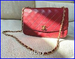 Authentic Vintage CHANEL Dark Red Lambskin Leather Flap 24K GOLD HW Chain Bag