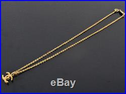 Authentic Vintage CHANEL Made in France 1982 Goldtone CC Chain Necklace 376 +Box
