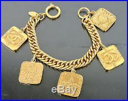 Authentic Vintage Chanel CC Icon Logo Goldtone 5 Plate Charm Bracelet 2 8