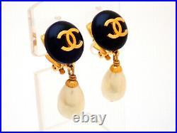 Authentic Vintage Chanel earrings CC logo black round faux pearl dangle #ea3062
