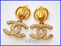 Authentic Vintage Chanel earrings CC logo rhinestone dangle #ea2473