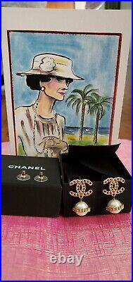 Authentic chanel cc logo earrings