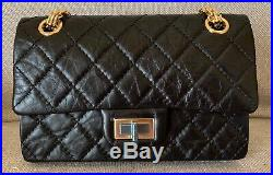 BNIB Chanel 2.55 Black Reissue Quilted Single Flap Bag Gold Chain