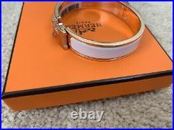 BNIB Hermes Small Width Clic Clac H Bracelet Blanc White Rose Gold PM Size Small