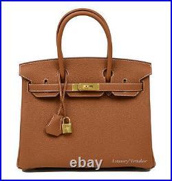 BNIB NEW AUTHENTIC HERMES BIRKIN 30cm GOLD TAN TOGO LEATHER GHW HANDBAG BAG