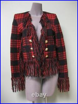 Balmain AUTH NEW Golden Buttons Fringed Made in France Open Blazer 38 Red Black