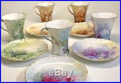 Beautiful Antique Haviland Chocolate Pot Set of 5 Cups and Saucers, France, Gold