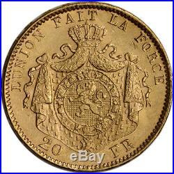 Belgium Gold 20 Francs (. 1867 oz) Leopold II BU 1870-1882