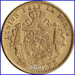 Belgium Gold 20 Francs (. 1867 oz) Leopold II XF/AU Random Date