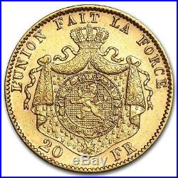 Belgium Gold 20 Francs Leopold II Avg Circ (Random) SKU #44328