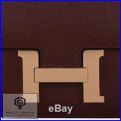 Bordeaux Red Constance 24cm Hermes Epsom Leather Shoulder Bag Pink Rose Gold Ghw