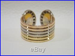 CARTIER 18k tri-color gold Double C ring with diamonds size 51 Vintage model