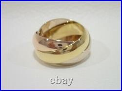 CARTIER 18k tri-color gold wide band Trinity ring size 51 Vintage model