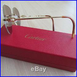CARTIER Light Brown Gold Rimless 140 Sunglasses 100% Authentic