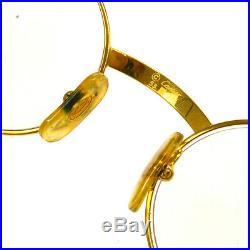 CARTIER Logos Reading Glasses Eye Wear Gold Clear Wood France M14370