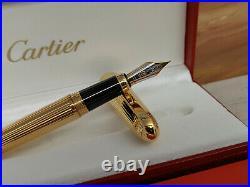CARTIER Louis Cartier Godron Gold Plated Fountain Pen, NOS