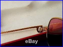 CARTIER Romance Gold Mint Condition 54mm Lenses Vintage Sunglasses France 18k