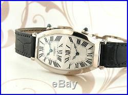 CARTIER Tonneau Dual Time 18K White Gold Manual Wind men watch has box & papers