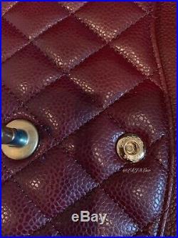 CHANEL 15B Burgundy Caviar Medium Classic Double Flap Bag 2015 GOLD DARK RED