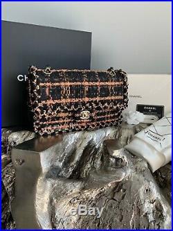 CHANEL 18C Tweed Medium Classic Flap Bronze Black Orange Beige Gold CC 2018 NEW