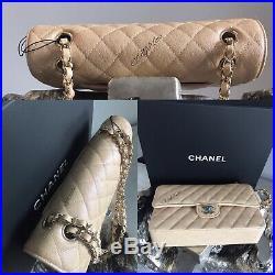 CHANEL 19S IRIDESCENT BEIGE Medium Classic Flap Bag 2019 PEARLY CC 17B ROSE GOLD