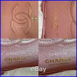 CHANEL 19S Iridescent Pink Caviar Medium Classic Double Flap Bag 2019 Pearly CC