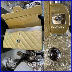 CHANEL 19S Iridescent Yellow Caviar Medium Classic Flap Bag 2019 CC Pearly Gold