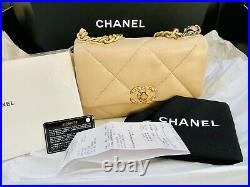 CHANEL 19 Flap Bag 21S Dark Beige Small Medium Quilted Leather Gold Silver CC