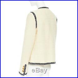 CHANEL 80s vintage ecru tweed navy braid trim gold CC button collarless jacket