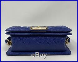 CHANEL BOY BAG SMALL DARK BLUE CAVIAR WithAGED GOLD HARDWARE NEW CROSSBODY 19A