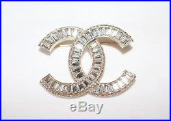 CHANEL Baguette Crystal CC Gold Brooch Pin 100% Authentic NWT