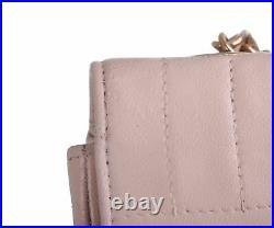 CHANEL Beige Leather Vertical Line Classic Flap 24K Gold CC Shoulder Bag Purse