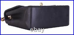 CHANEL Black Brown Leather Mini Classic Flap 24K Gold CC Crossbody Bag