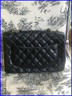 CHANEL Black Caviar Leather Jumbo Classic Single Flap Bag Gold Hardware