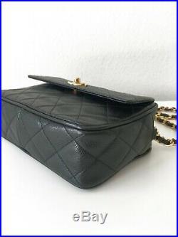 CHANEL Black Caviar Leather Rectangle Camera Mini Flap Crossbody Gold HDW RARE