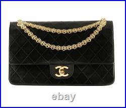 CHANEL Black Lambskin Leather CC 24K Reissue Gold Chain Medium Double Flap Bag