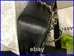 CHANEL Black Leather Caviar Mini Classic Flap Gold CC Crossbody Bag Authentic