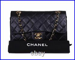 CHANEL Black Leather Quilted Double Flap 24K Gold CC Chain Shoulder Bag Purse