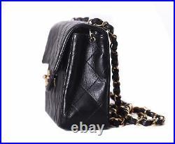 CHANEL Black Leather Square Mini Classic Flap 24K Gold CC Crossbody Bag