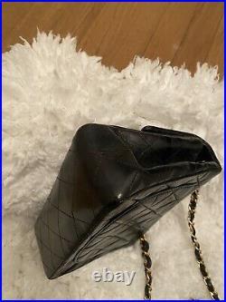 CHANEL Black Leather Square Mini Classic Flap Gold CC Crossbody Bag Authentic