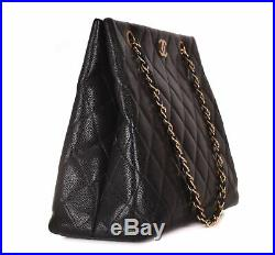 CHANEL Black Quilted Caviar Leather Gold CC Chain Tote Bag Purse