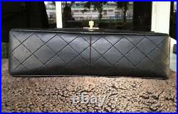 CHANEL Black Quilted Lambskin 24K Gold Chain Medium Large Classic 11 Flap Bag