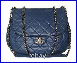 CHANEL Blue Quilted Leather Mini Flap Gold CC Crossbody Bag Purse