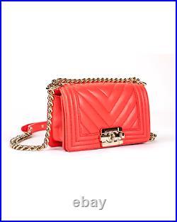 CHANEL Boy Chevron Coral Red Leather Flap Boy Bag Handbag GHW NWT