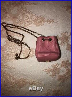 CHANEL CC 1990s Pink Leather Micro Quilted Bag