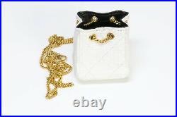 CHANEL CC 1990s White Raffia Micro Quilted Bag