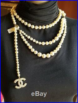 CHANEL CC GOLD LOGO Pearl NECKLACE & BELT SIZE 85/33 $1350. Auth